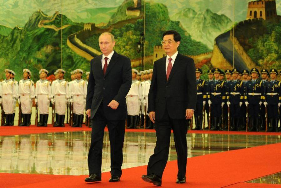 President Hu holds welcoming ceremony for Russian counterpart Putin